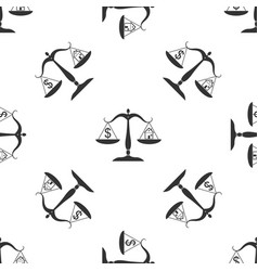 house and dollar symbol on scales seamless pattern vector image