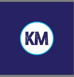 k m letter logo monogram design vector image