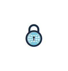 lock globe logo icon design vector image
