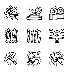 Longboard simple line icons set vector
