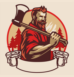 lumberjack mascot hold axe vector image