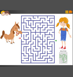 Maze game with cartoon girl and pony vector
