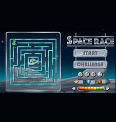 maze game with space theme template vector image