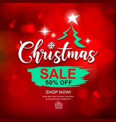 merry christmas sale brush stroke design vector image