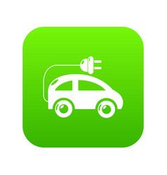 Modern electric car icon green vector