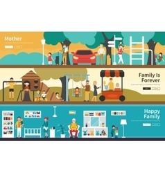 Mother Family Is Forever Happy flat interior vector image