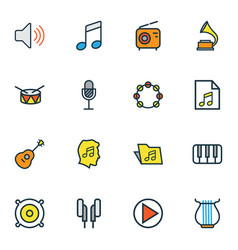 Music icons colored line set with earphones vector