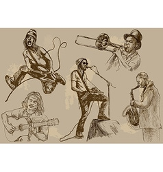 Musicians - An hand drawn pack vector image