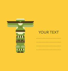 native totem pole card flyer or banner design vector image