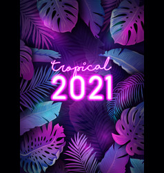 New year tropical leaves design neon disco tropic vector