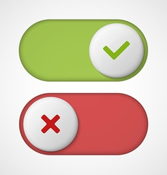On off 3d switches sliders with red and green vector image