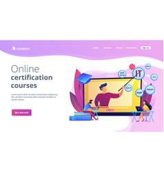 Online it courses concept landing page vector