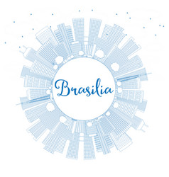 Outline brasilia skyline with blue buildings and vector