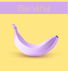 painted purple banana on yellow background vector image