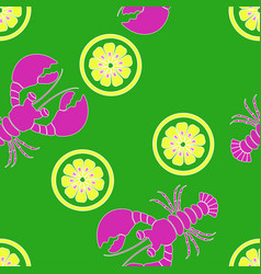 pattern with lobster and lemon vector image