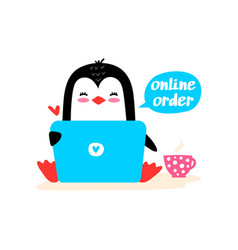 penguin sitting with a laptop vector image