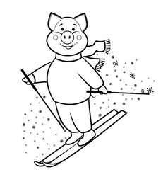 pig mountain skier symbol 2019 vector image