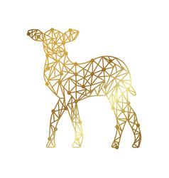 Polygonal gold deer vector