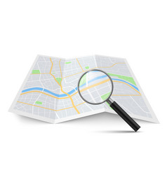 realistic magnifying glass and map magnification vector image