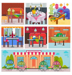 restaurant interior cafe building and decor vector image