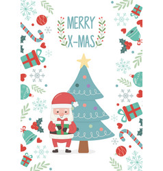 santa claus and tree decoration merry christmas vector image