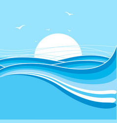 Sea and sun backgroundnature with waves vector