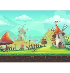 Seamless cartoon landscape with a windmill vector