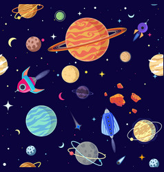 seamless pattern of planets in open space vector image