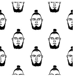 seamless pattern with bearded male face vector image