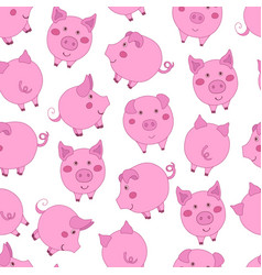 seamless pattern with cute cartoon pink pigs on vector image
