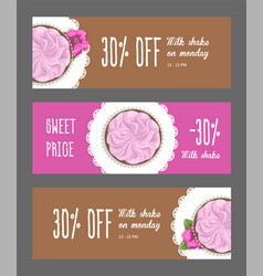 set horizontal narrow banners cake and flower vector image