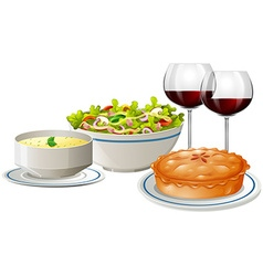 Set menu with food and wine vector image