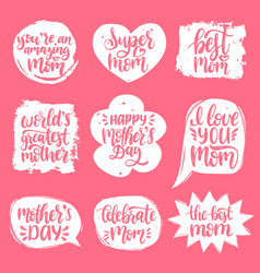set mothers day hand lettering in speech vector image