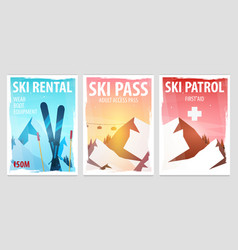 Set of winter sport posters ski rental patrol vector