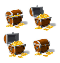 Set old pirate chests full of gold bars vector