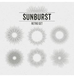 set retro sun burst shapes vector image