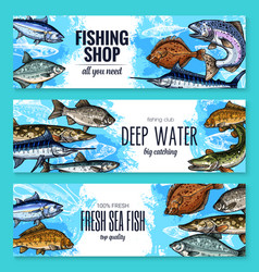 sketch banners of fish for fishing shop vector image