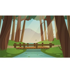 Small wooden bridge in the woods vector
