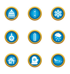 Spend the winter icons set flat style vector