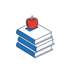 Stack books apple back to school education concept vector