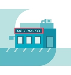 Supermarket front view Market shop building Flat vector image