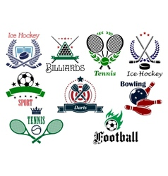 Team and individual sports heraldic emblems vector image