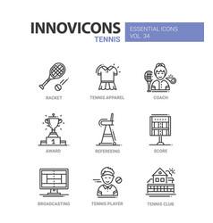 Tennis - modern line design icons set vector
