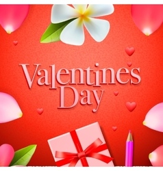 Valentines day background holidays gift and heart vector image