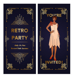 Vertical template art deco two-sided invitation vector