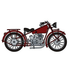 Vintage red motorcycle vector image