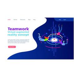 Virtual augmented reality concept teamwork vector