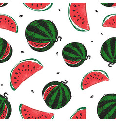 water melon seamless pattern isolated on white vector image
