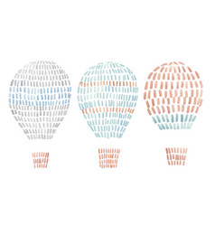 watercolor set with air baalloons in cute vector image