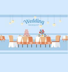 Wedding banquet hall flat vector